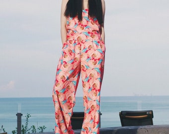 Pants 8 colors to choose: Lost in Kyoto collection black/red/white/pink/blue japanese traditional floral crane blossom pants