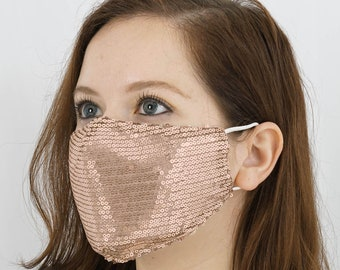 Reiki Infused Sequined Cotton Fashion Face Mask, Reusable Washable Face Mask With Ear Loops - Blush   Rose Gold