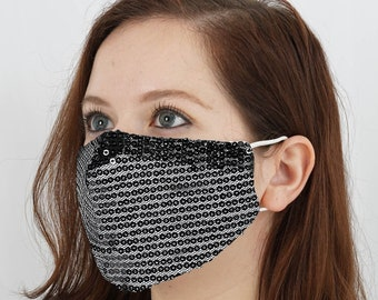 Reiki Infused Sequined Cotton Fashion Face Mask, Reusable Washable Face Mask With Ear Loops - Black