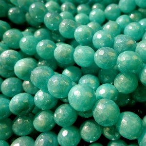 Natural Gemstone Mystic Russian Amazonite 6,8,10,12mm beads AAA Quality! Faceted Round Great for JEWELRY making Full length 15.5 inches