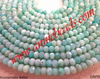 Beautiful Natural Chrysoprase 6x 5mm rondelle shape