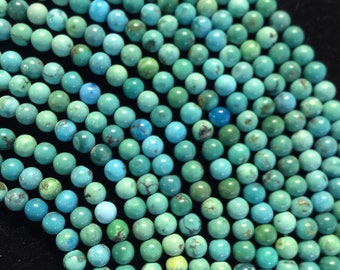 """AAA Natural Turquoise Beads, Natural Gemstone Beads. 2mm 4mm Round Smooth Beads, Full strand 15"""" great for jewelry making"""