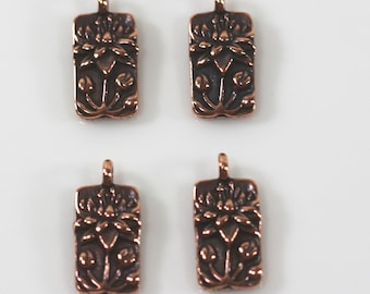Antiqued Copper Lotus Flower Charms 4 or More Pieces 0318 TierraCast Charms