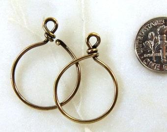 #CK802 10 Pcs 20mm Bright Gold TierraCast Brass Wire Hoop 17 Gauge
