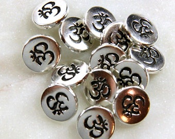 3 pcs 12 mm Metal Buttons Copper Plated Pewter Metal Buttons by TierraCast Small Om Symbol 12 inch