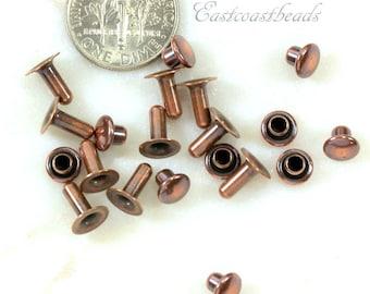 TierraCast Rivets, 6 mm Compression Rivets, Leather Findings, 6mm Compression Rivets, Antiqued Copper, ........................10 Sets, 6118