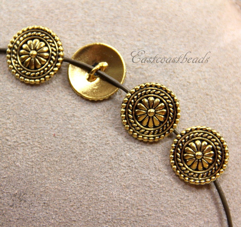 4 Pieces Metal Shank Buttons Antique Gold Plated Lead Free Pewter Leather Findings TierraCast Large Bali Buttons