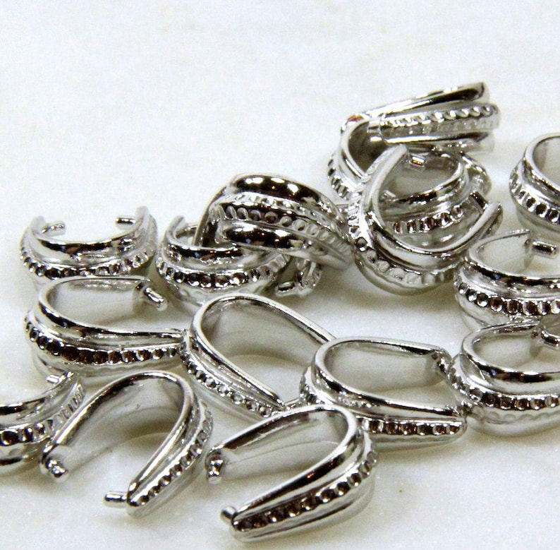Rhodium Plated Jewelry Findings Large Hammertone Pinch Bails Bails 14x12 TierraCast Pinch Bail