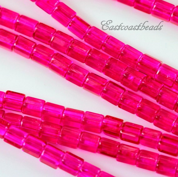 0131 Tube Beads FUCHSIA 30 Pieces Czech Faceteed Glass Tube Beads 10x4mm