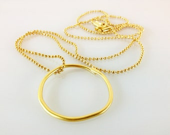 Big Hollow Circle Long Gold Plated Pendant Necklace, Ball Chain , Geometric Jewelry, Modern Jewelry , Bib Necklace, Statement Necklace