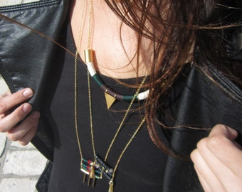 Layered long bohemian necklace, Bohemian long gold necklace, long gold tassel necklace, boho chic necklace, long nuts necklace