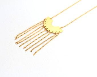 Gold half circle layering necklace,minimalist necklace, geometric jewelry, bib necklace, statement necklace