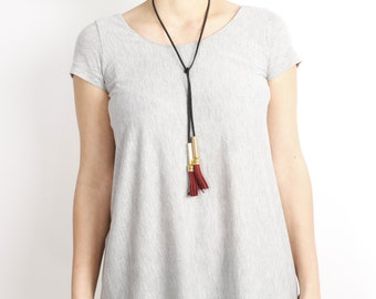 gold and bourdeaux tassel necklace, statement necklace, long gold trend tassel jewelry, tassel necklace, bib necklace