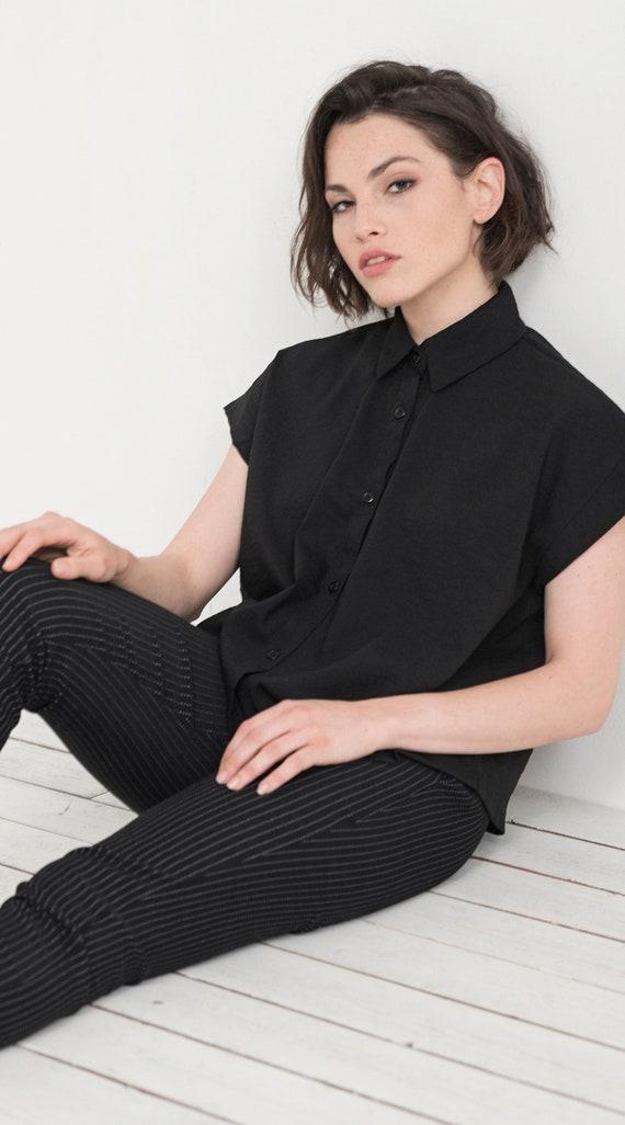 Blouse Short Collar Shirt Shirt Sleeves Black Wide Shirt Shirt Butttoned Becky Clothing Casual Oversized Women Women Xtv5qw