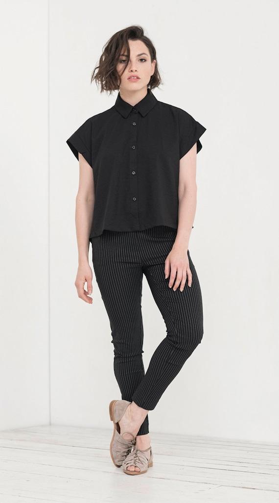 Sleeves Collar Wide Shirt Blouse Shirt Oversized Black Short Women Clothing Butttoned Women Becky Casual Shirt Shirt wIg4X6