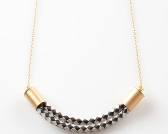 Black and white  leather necklace, leather and gold necklace,statment  necklace,, bib necklace, statement neckla