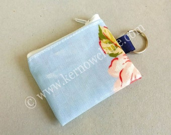 Mini coin purse key ring in blue with pink flowers, floral oilcloth key ring, tiny purse, wipe clean, ladies purse key ring, coin pouch
