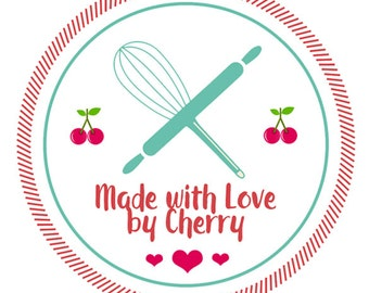 "Custom Canning Labels - Kitchen Labels - Made with Love Labels - Jam Jar Labels - Mason Jar Labels  - 1.5"", 2"" OR 2.5"" round stickers"
