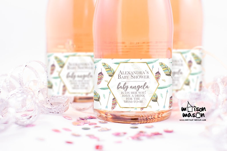 Baby Sprinkle Feather Design Baby Shower Favor Set labels Waterproof Labels Boho Baby Shower Mini Champagne or Mini Wine Labels