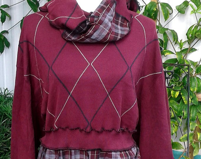 Valentines gift,plus size,upcycled clothing,plus size sweater,recycled sweater,bohemian,boho,one of a kind,upcycled sweater,1x