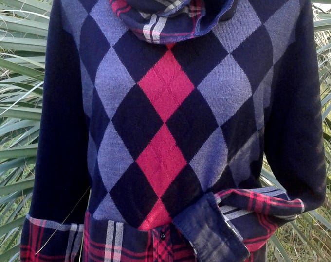lagenlook,upcycled,sweater,boho,bohemian,medium,large,scarf,infinity,boot,socks,crop,top,flannel,argyle