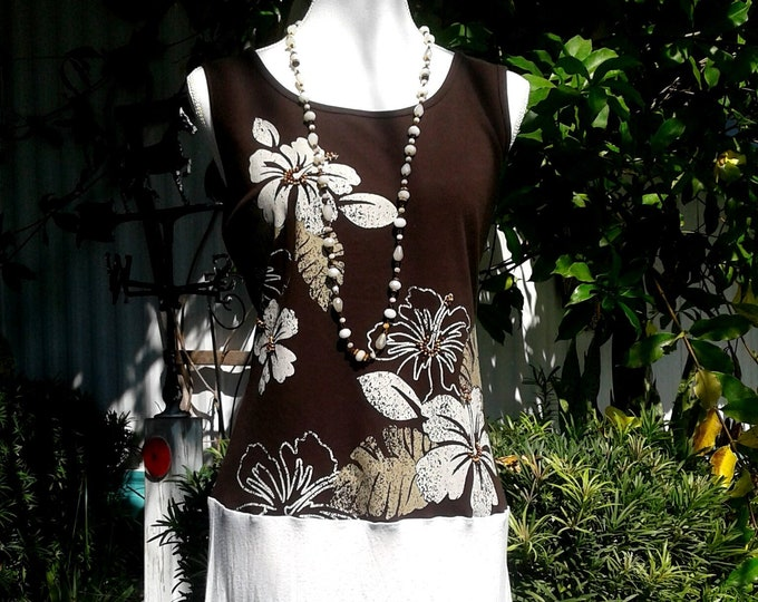 Boho womens upcycled tank dress beaded brown lace mediun large xl