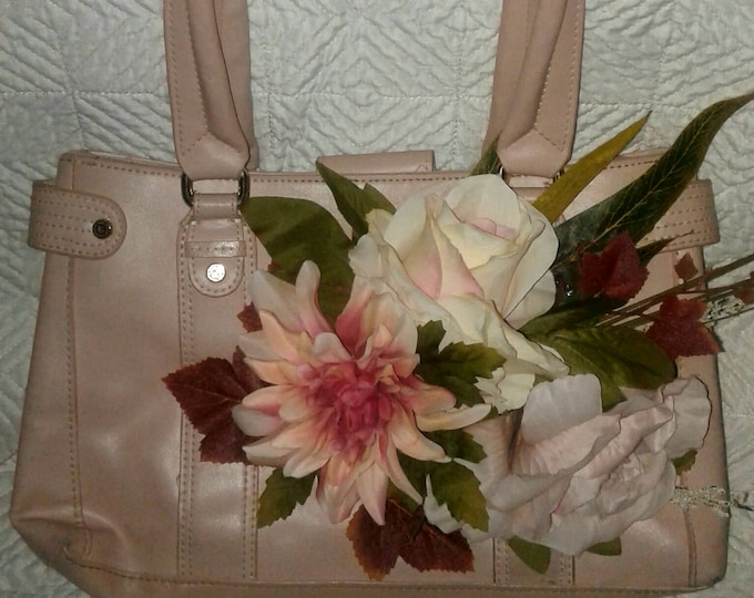 SUMMER SALE! Silk,flower,liz,claiborne,purse,leather,pink,mauve,boho,upcycled,,artificial,handbag,tote