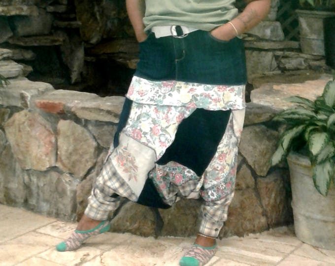 Womens, plus size, Harem Pants,tube top,upcycled clothing,denim skirt,patchwork,14,upcycled jean skirt,upcycled jeans,recycled,bali