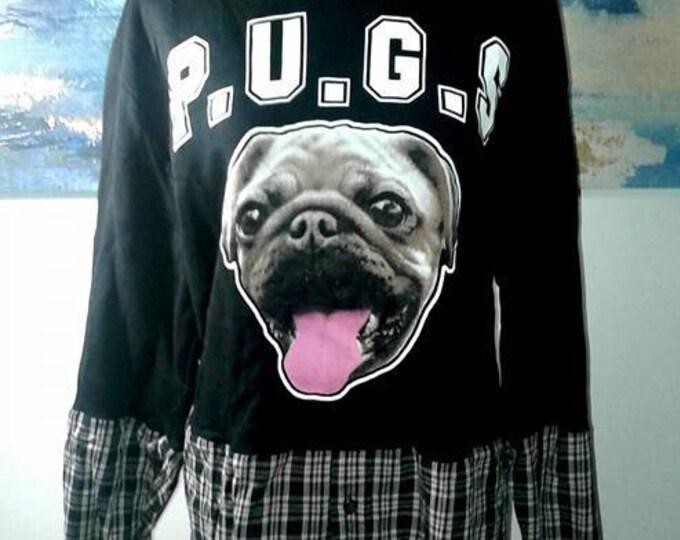 plus size,upcycled clothing,eco friendly,sweatshirt,plus size sweater,pug,recycled,sweater,one of a kind,boho,bohemian,dog,sweatshirt,pet