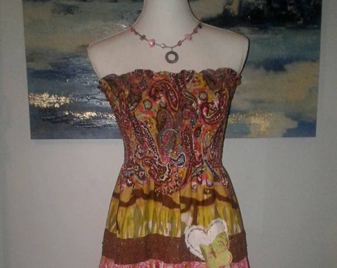 Summer Sale! Artsy Clothing,Boho Chic,Long Maxi Dress,Upcycled,Butterflies,Bohemian,Refashioned,Hippie,Sweater Dress,Womens Clothing