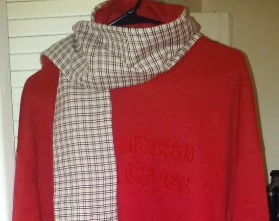 american red cross,plus size,upcycled clothing,1x,plus size sweater,sweat shirt,boho,one of a kind,upcycled sweater,repurposed