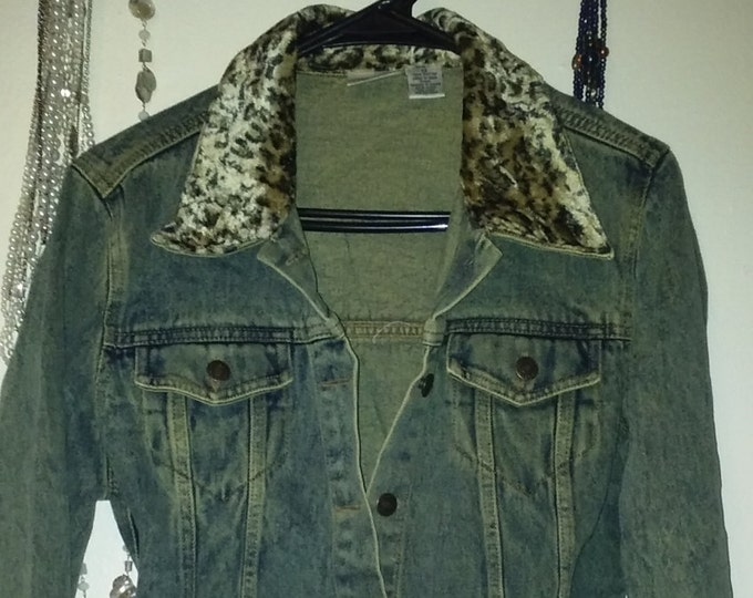WINTER SALE! Sz,14,upcycled,vintage,look,jean,leapord,outfit,womens,jacket,skirt,long