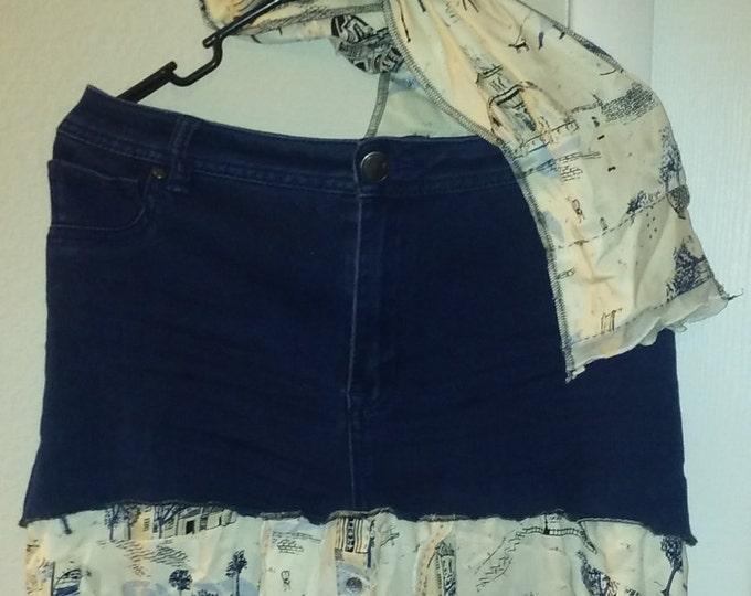 SUMMER SALE! Paris,jean,skirt,sz,1x,14,16,upcycled,scarf