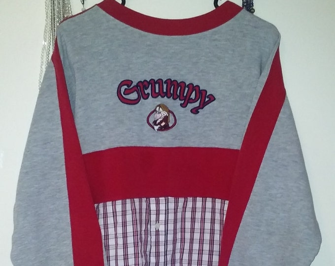 Plus,OFFICIAL,disney,grumpy,sweatshirt,flannel,1x,2x,xxl,crop top,world,lagenlook,upcycled