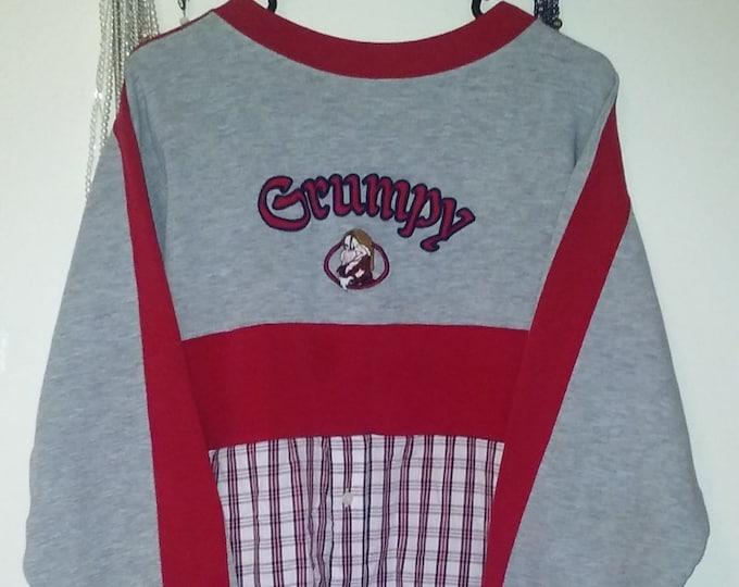 Summer Sale! Plus,OFFICIAL,disney,grumpy,sweatshirt,flannel,1x,2x,xxl,crop top,world,lagenlook,upcycled