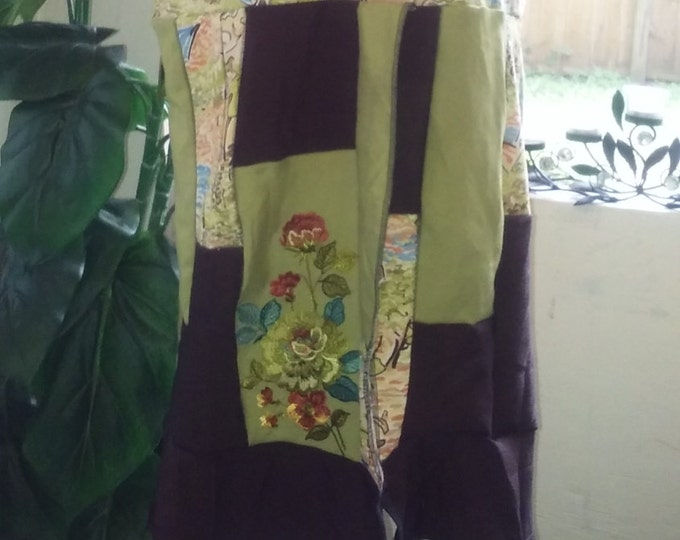 Womens,medium,lg,upcycled,vest,coat,jacket,green,large,patchwork,boho,fairytale