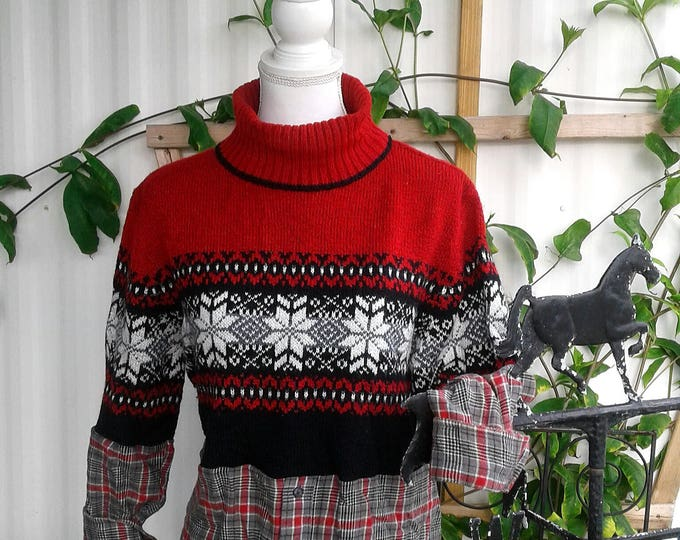 SALE! Lagenlook,upcycled,red,sweater,top,boho,boot,socks,large,xl,fall,winter,turtle,neck,christmas,medium,flannel
