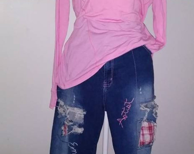 The Original creator of distressed ripped patchwork personalized hand embroidered jeans upcycled bohemian boho