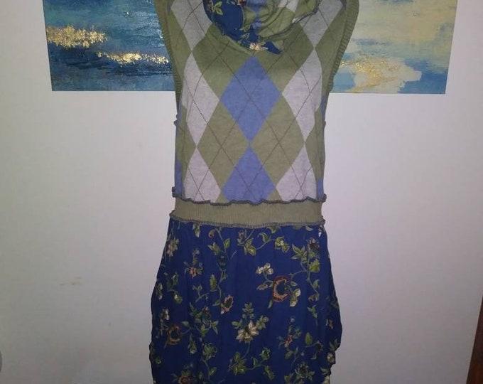 Womens plus size 16 vest dress crop top boho bohemian green scarf upcy led