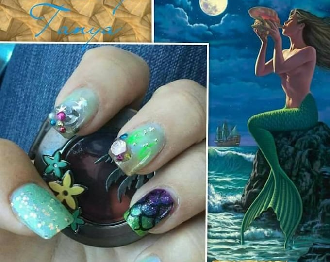 Made to order Nail Designs by Tanya press on bling nails with kit custom art hand painted long short coffin stiletto