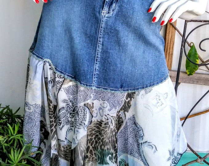 Size 9 layered look womens boho skirt denim jean