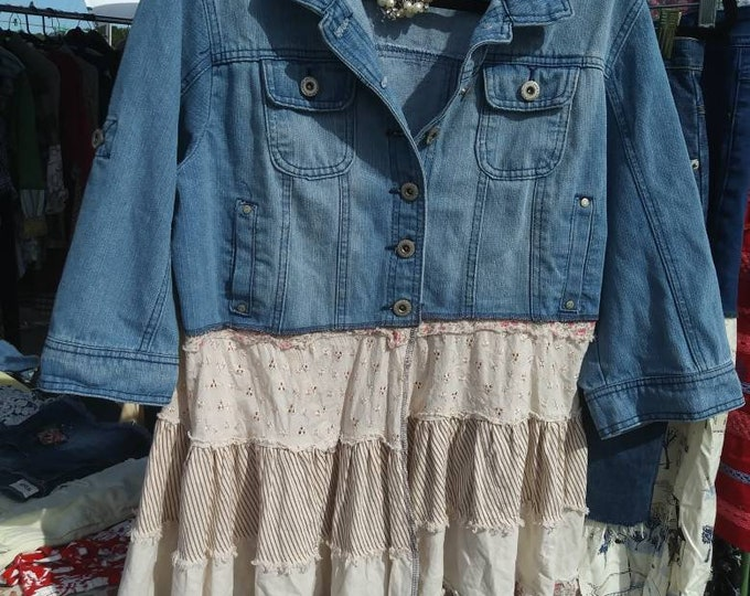 Size 1x jean jacket upcycled refashioned lagenlook western shabby chic dress coat
