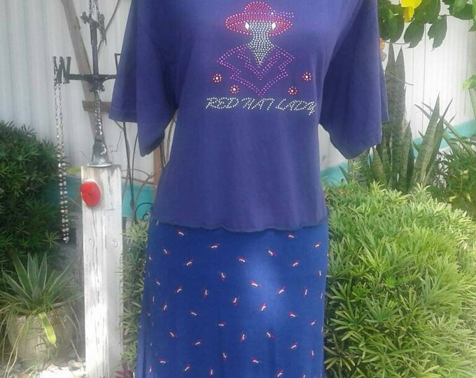 Red hat society upcycled tshirt dress womens size xl extra large skirt outfit lady tunic purple