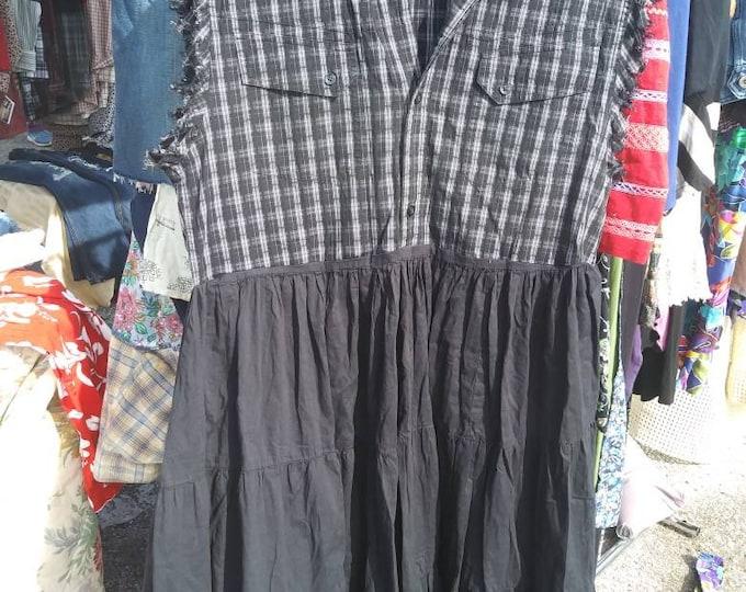 Super cute size xlarge xl 1x womans fringe vest skirt dress shabby chic boho western look upcycled refashioned