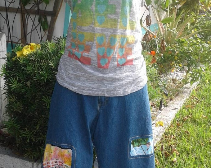 Size 28w plus patchwork ripped  blue womens clothing jeans boho rainy day theme