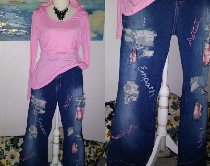Size 18 womens distressed ripped patchwork personalized hand embroidered jeans upcycled bohemian boho boyfriend reiki