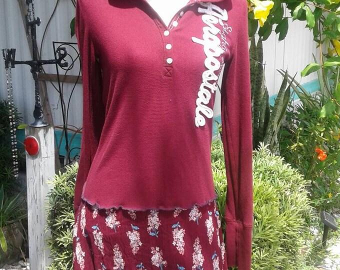 SOLD! Aeropostale upcycled sweater dress small medium large hoodie hooded sweatshirt skirt boho