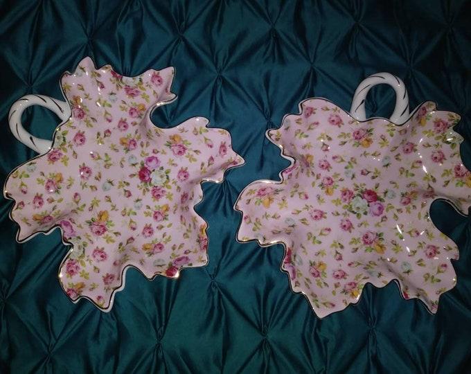 Vintage Royal Danube Set of 2 pink roses leaf serving dish gold trim china shabby chic