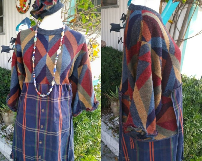 dress,1x,2x,xxl,16,18,w,1x,2x,plus,xxl,upcycled,winter,argyle,sweater,grey,artsy,boho,earthy,lagenlook,wool,womens,hippie,dress,fringe