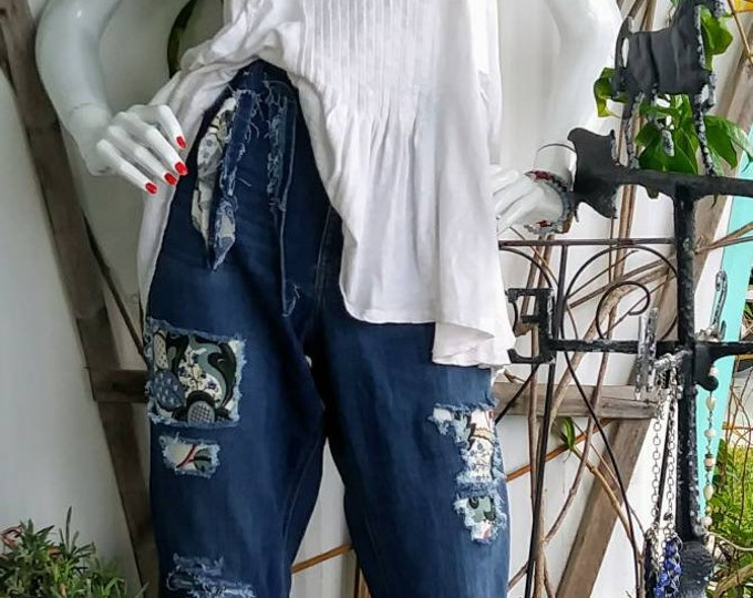 Womens size 16 upcycled ripped patch distressed jean outfit boho hippie jeans  indie hippie vintage high low fringe boyfriend denim